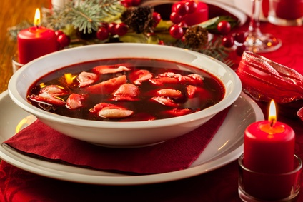 Polish Christmas red borscht with dumplings